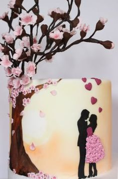 Blossom Love silhouette cake - cake by Sarahscakes - CakesDecor Big Wedding Cakes, Wedding Cake Roses, Beautiful Wedding Cakes, Happy Anniversary Cakes, Wedding Anniversary Cakes, Cake Decorating Frosting, Cake Decorating Supplies, Modern Birthday Cakes, Love Silhouette
