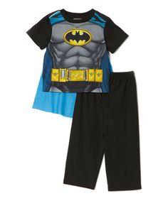 Black & Blue Batman Pajama Set - Boys
