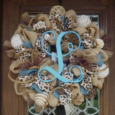 Burlap Wreath with LEOPARD RIBBON and INITIAL by decoglitz on Etsy