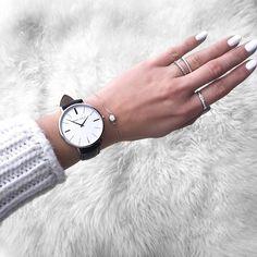 Watch and rings. Minimalist jewelry