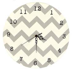 Chevron Gray & White Wall Clock