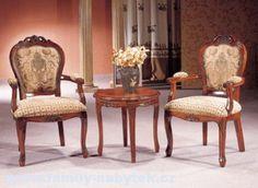 Židle jídelní zámecká s polstrem, masiv > varianta s područkou
