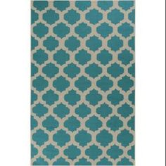 2' x 3' Gated Passage Turquoise and Tan Reversible Woven Wool Area Throw Rug