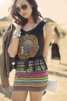Guns 'N Roses tshirt and striped skirt