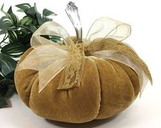 Velvet Pumpkin - HARVEST GOLD - with vintage silver stem - THANKSGIVING Centerpiece autumn harvest Pumpkin Stem, Diy Pumpkin, Pumpkin Crafts, Autumn Crafts, Thanksgiving Crafts, Holiday Crafts, Thanksgiving Centerpieces, Thanksgiving Table, Velvet Pumpkins