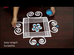 Creative 3 dots rangoli & kolam designs by easy rangoli Suneetha | Daily muggulu - YouTube Rangoli Borders, Rangoli Border Designs, Beautiful Rangoli Designs, Diwali Drawing, Rangoli With Dots, Simple Rangoli, Creative Video, Drawings, Youtube