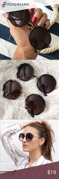 LAST PAIR! NEW | ROUND GEOMETRIC SUNNIES | BLACK! NEW NEVER USED & ON TREND ✨  LAST PAIR! GORGEOUS GOLD wire sunglasses with BLACK FRAMES & dark GRADIANT lenses. 😍 (tortoise is SOLD OUT)  Soft cleaning case is included with your purchase.   100% UV protection   Ships SECURELY same or next day from my smoke free home.   Priced firm. Bundle items to save. ✨  Not URBAN OUTFITTERS brand. Listed for exposure. Accessories Sunglasses
