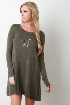 Acid Wash Long Sleeve Shift Dress