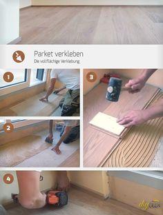 Parkett verkleben: Diese Anleitung zeigt, wie selbst die vollflächige Verklebung von Parkett auf einer Fußbodenheizung schaffbar ist.
