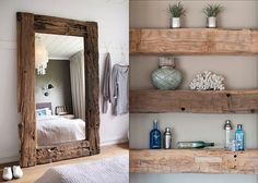 Love the rustic wood shelves
