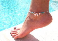 Silver Bow Anklet with Turquoise Beads by DeliBejeweled on Etsy, $8.99