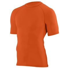 Augusta sportswear. Orange hyperform compression short sleeve shirt. Customize for your team at Unitedteamsports.com