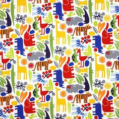 Amazon.com: Alexander Henry 2-D Zoo New Primary, 44-inch (112cm) Wide Cotton Fabric Yardage