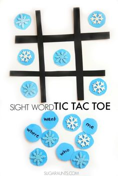 Play this sight word tic tac toe game with a winter snowflake theme. This is perfect for Kindergarten and early childhood education. Sight Words, Sight Word Games, Sight Word Activities, Alphabet Activities, Fun Learning, Learning Activities, Activities For Kids, Learning Centers, Teaching Ideas