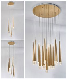 A selection of LED lights great for large spaces with a 1.2 metre drop Thing 1, Ceiling Lighting, Brass Pendant, Glass Globe, Polished Brass, Wind Chimes, Drop, Spaces, Led