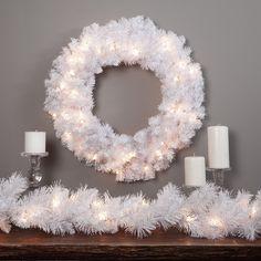 Finley Home Winter Park White Pre-lit Christmas Wreath, 24 Inch - http://www.christmasshack.com/christmas-wreaths/finley-home-winter-park-white-pre-lit-christmas-wreath-24-inch/