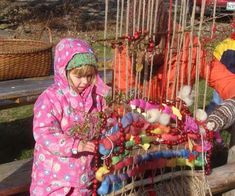 http://www.livingcrafts.com/blog/  weaving loom for outside (she's weaving in stuff that the birds will eat)