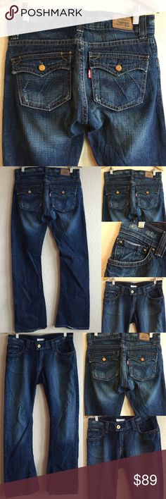 LEVI 🎀 EDGY DARK WASH BOOT JEANS POCKETS Size 9 M Awesome & edgy!  In absolutely excellent condition!  Love these dark wash jeans!  Size 9 M. 💗💗💗 AX Levi's Jeans Boot Cut