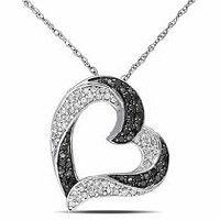 0.33 Carat T.W. Black and White Diamond 10 K White Gold Heart Pendant