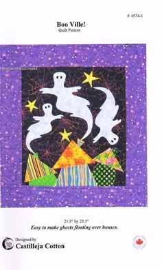Boo Ville!  Halloween Ghost  Pieced & Applique Wall Quilt Pattern #Unbranded