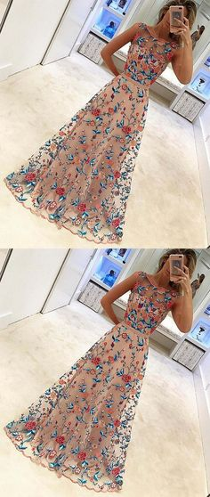 Unique Floral Embroidery Long A Line Prom Dress Evening Dress #Embroidery #floral #unique #long #prom #formal #okdresses