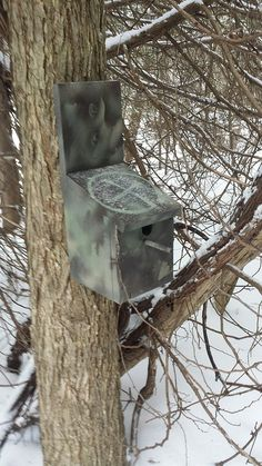 Perched in a Tree (GC5MC5Y) by jjcache11, a fake birdhouse gadget cache.  The logbook container is accessed by pulling out the perch, which enables the bottom to drop down.  (pinned from the source website to Birdhouse Geocaches - https://www.pinterest.com/islandbuttons/birdhouse-geocaches/) #IBGCp