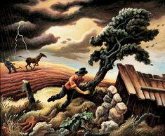 """Thomas Hart Benton (Am., 1889 - 1975), The Hailstorm, 1940, tempera on canvas mounted on panel, 33 x 40"""", Omaha, Joslyn Art Museum"""