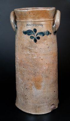 "Very Rare and Important Three-Gallon Stoneware Churn with Incised Decoration, Stamped ""P. CROSS / HARTFORD,"" Connecticut origin, circa 1806-1808."