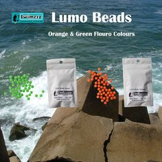 Swimerz Soft Plastic Lumo Beads in Flouro Orange and Flouro Green. Great for Snapper, Whiting and many other species.