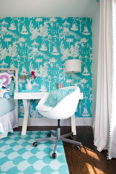 House of Turquoise: Colordrunk Designs Turquoise Teen Bedroom, Turquoise Bedding, Turquoise Walls, House Of Turquoise, Turquoise Furniture, Turquoise Wallpaper, Do It Yourself Design, Interior Decorating, Interior Design