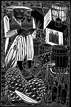 Joel Rendón. Mezcal indio, 2003. Grabado en linóleo. Colección particular.