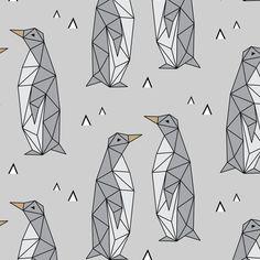 Geometric Penguins Gray fabric by kimsa on Spoonflower - custom fabric