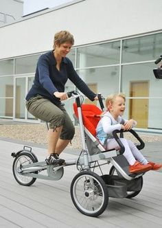 Bicycle Baby Stroller... this is so cool! I like this better than dragging the baby behind the bike.