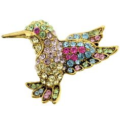 Multicolor Hummingbird Swarovski Crystal Pin Brooch - Fantasyard Costume Jewelry & Accessories