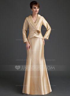 Mother of the Bride Dresses - $157.99 - Mermaid V-neck Floor-Length Taffeta Mother of the Bride Dress With Ruffle Flower(s) (008006538) http://jjshouse.com/Mermaid-V-Neck-Floor-Length-Taffeta-Mother-Of-The-Bride-Dress-With-Ruffle-Flower-S-008006538-g6538