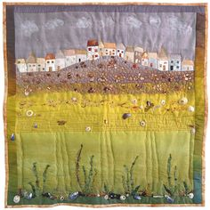 Items similar to SEASIDE ART QUILT - St. Ives Cornwall quirky cottages houses beach sea seaweed shells beads - hand dyed silk embroidery beading applique on Etsy Art Fibres Textiles, Textile Fiber Art, Quilt Art, Art Quilting, Quilting Ideas, Seaside Art, Seaside Cottages, Landscape Art Quilts, Landscapes