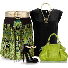 Green Skirt!, created by sheryl-lee on Polyvore