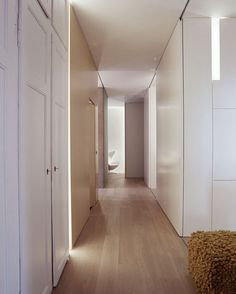 Full-height pocket door against the wall
