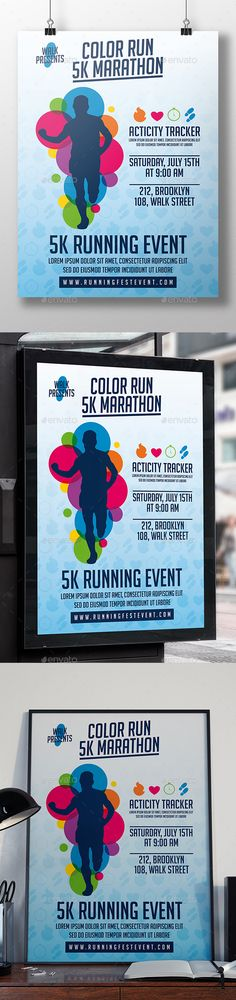 "Run Event Flyer Template by BossTwinsMusic - 8.3x11.7"" print dimension, with Bleed and Guides. - Layered Psd file. - CMYK, Print ready. - You can change text and colors very"