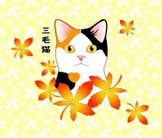 Mi-Ke Japanese Three Color Lucky Cat fabric by bliss_and_kittens on Spoonflower…