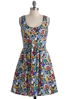 Good Enough to Strut Dress - Multi, Novelty Print, Casual, A-line, Tank top (2 thick straps), Summer, Multi, Pockets