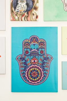 "New canvas wall art is here- decor to make your space peaceful! Hamsa Canvas Art, 20""x 28"""