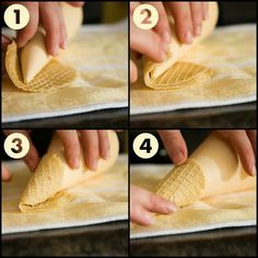 How to roll waffle ice cream cone pictorial instructions. Waffle Cone Recipe, Waffle Cone Maker, Waffle Maker Recipes, Waffle Cones, Eggless Waffles, Homemade Waffles, How To Make Waffles, Waffle Ice Cream, Sugar Cones