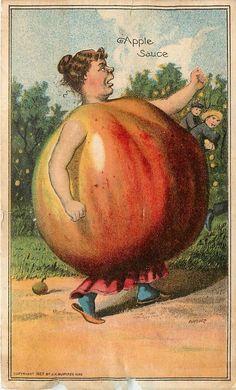 Victorian Trade Card Anthropomorphic Apple Woman Keystone Chemical Phospho Soap #KeystoneChemicalCoPhosphoWashingCompound