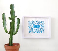 FREE Shipping BLUE GARDEN Letterpress Print by triangletrees