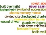 """My word cloud from a """"riff on words"""" using the prompt, """"Berlin Wall"""" #germany #history #writing #Wordle"""