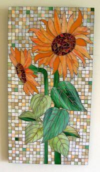 Orange Sunflower Glass Mosaic
