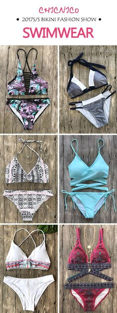 Start from $12.99 for 2017 summer / spring bikini fashion show at chicnico.com!  Sexy Fashion Women's  Halter Strappy on Beach Push up Swimsuit Boho Bikini Floral Print Bohemian Style Floral Padded Swimwear