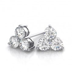 Rhodium Plated Diamond Color with 3 stone Stud Earrings made with Swarovski Crystals. #Glimmering #swarovskistudearrings #swarovskistuds #swarovskiearrngsstuds Shop Now: http://www.glimmering.co.in/earrings/swarovski-stud-earrings.html