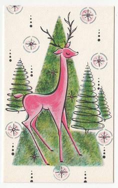 """"""" Pink Deer- Volland x my other listings for more Vintage Greeting Cards. Greeting Card Shops, Vintage Greeting Cards, Christmas Greeting Cards, Christmas Greetings, Christmas Drawing, Christmas Paper, Christmas Goodies, Christmas Girls, Christmas Colors"""